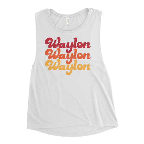 Women's Rainbow Logo Muscle Tank White