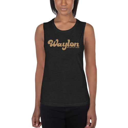 Womens Logo Muscle Tank Heather Black