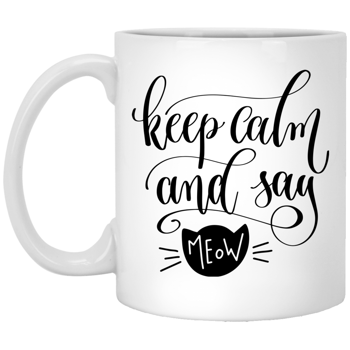 Keep Calm and Say Meow White Mug