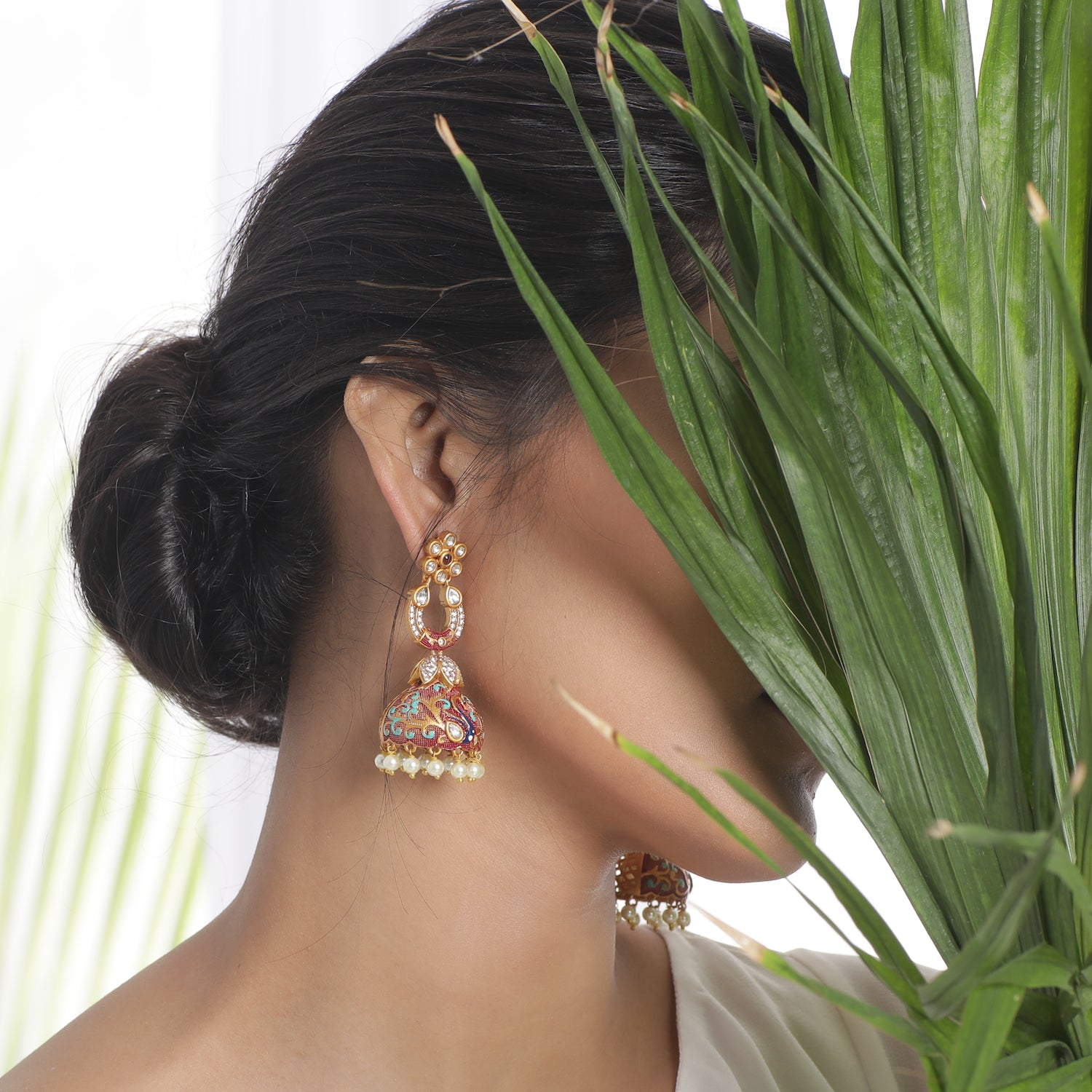 Canisa Kundan Jhumka Earrings