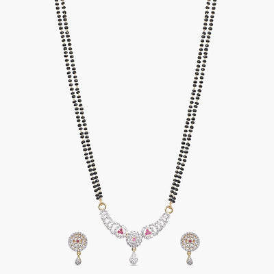 Sajni Nakshatra CZ Black Beads Necklace Set