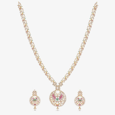 Tiah Nakshatra CZ Long Necklace Set