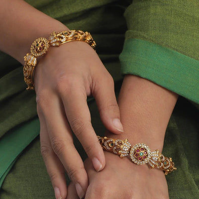 Sarang Antique CZ Bangles by Tarinika