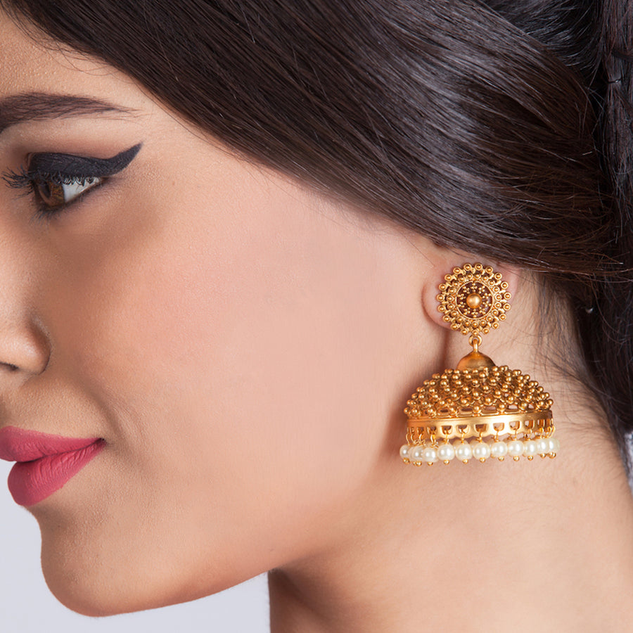 Matar Antique Jhumka Earrings