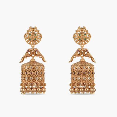 Dhvani Antique Jhumka Earrings by Tarinika