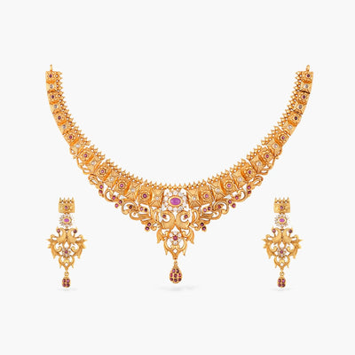 Sarup Antique Necklace Set by Tarinika