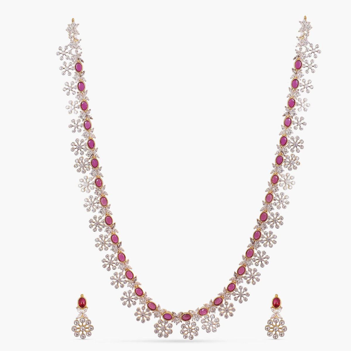 Ambre Nakshatra CZ Long Necklace Set
