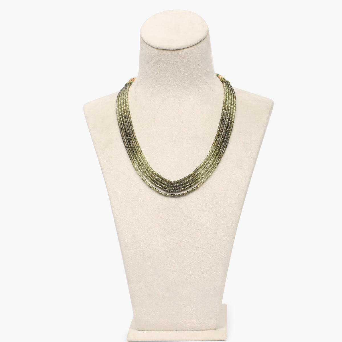 Dark Olive Cubic Zirconia Faceted Beads Necklace