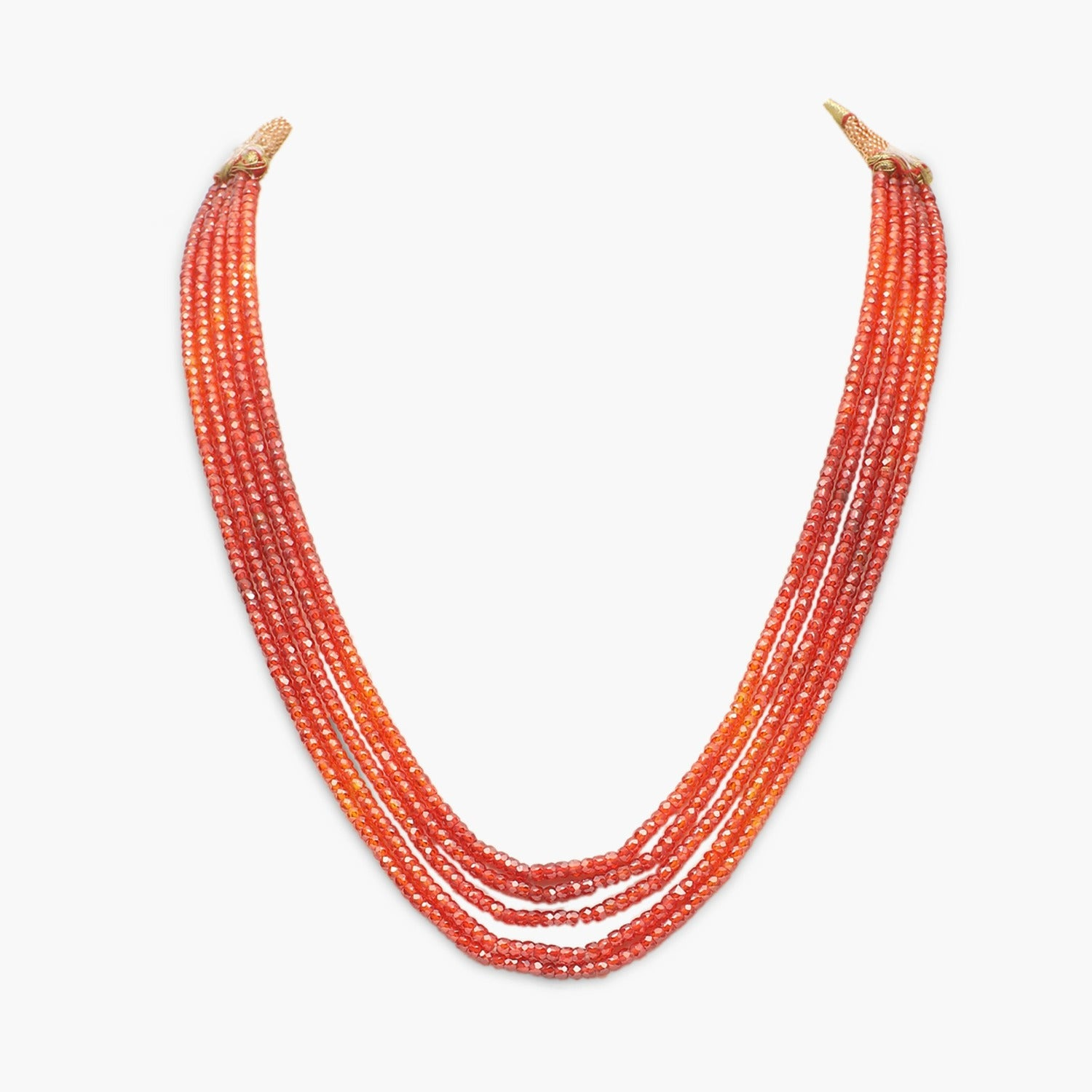 Orange Shaded Cubic Zirconia Faceted Beads Necklace