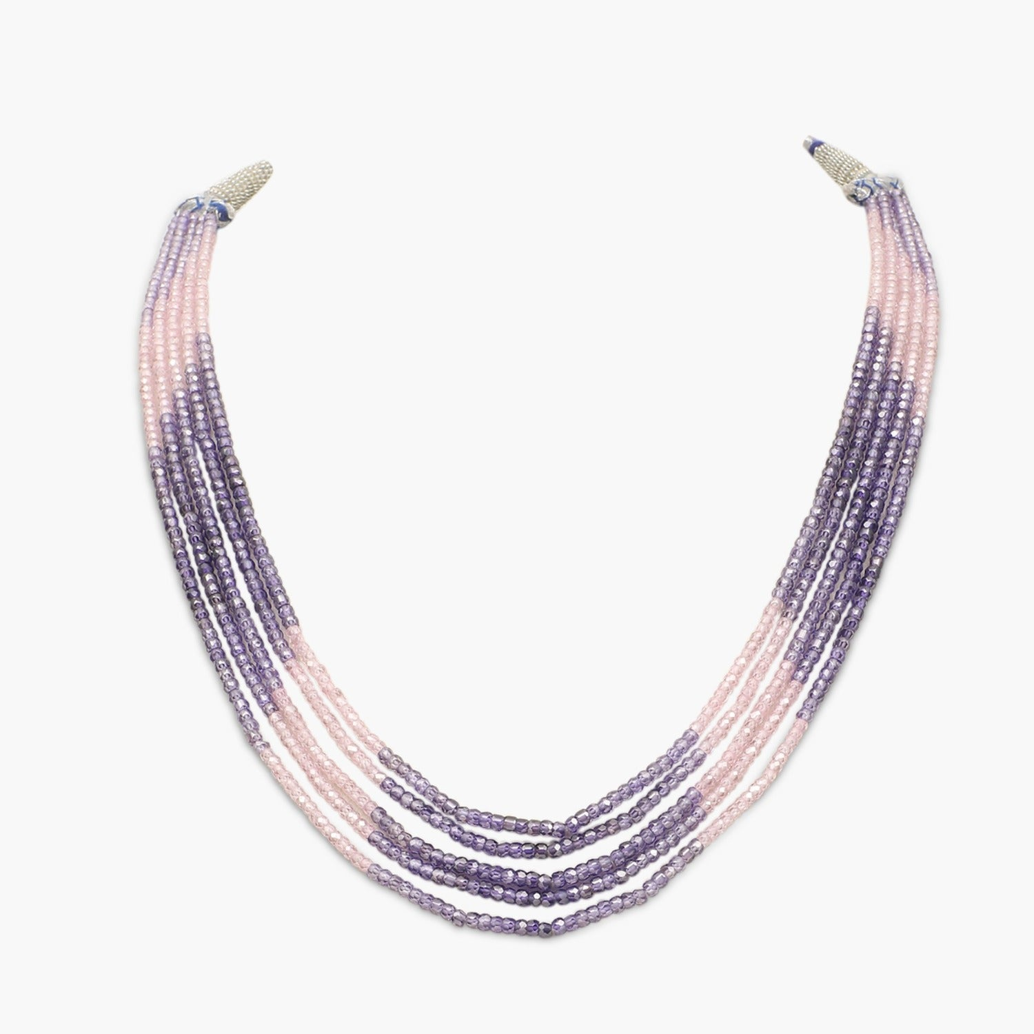 Pink and Purple  Faceted Cubic Zirconia Beads Necklace