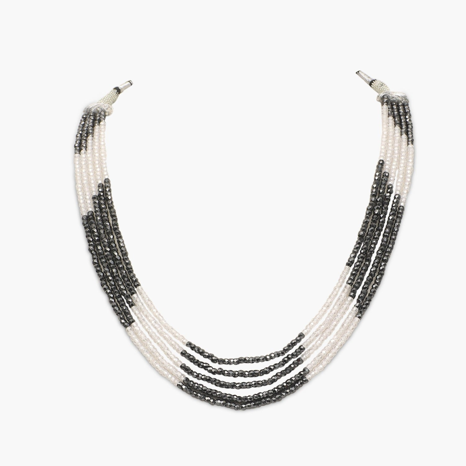 Black with White Faceted Cubic Zirconia Beads Necklace