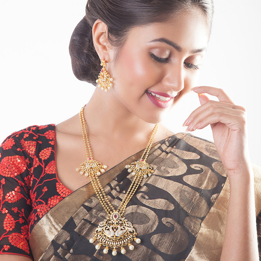 Seher Nakshatra CZ Long Necklace Set by Tarinika