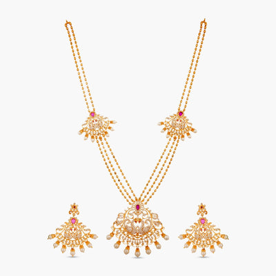 Seher Nakshatra CZ Long Necklace Set