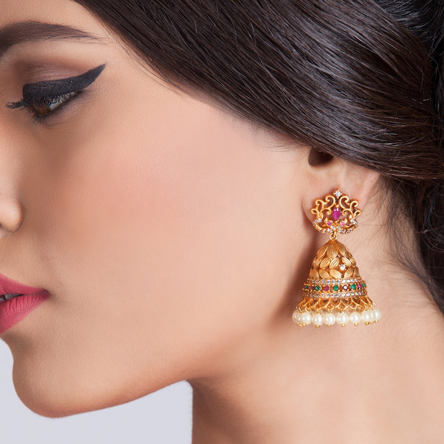 Adi Antique Jhumka Earrings by Tarinika