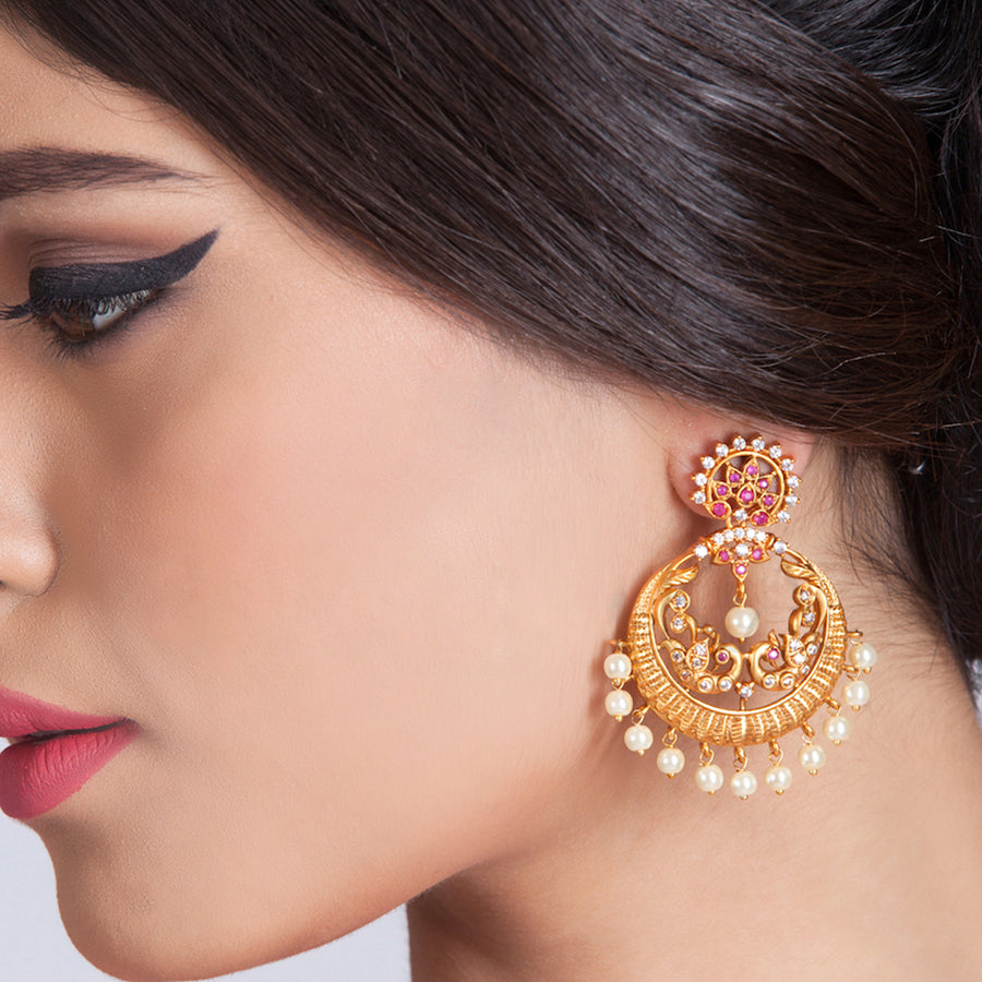 Vyoma Nakshatra CZ Chandbali Earrings by Tarinika
