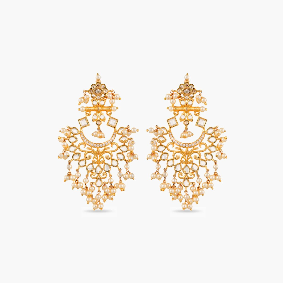 Motiya Nakshatra CZ Chandbali Earrings