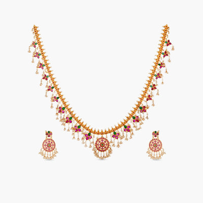 Adaa Antique Long Necklace Set by Tarinika