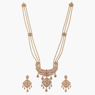 Hasa Nakshatra CZ Long Necklace Set by Tarinika