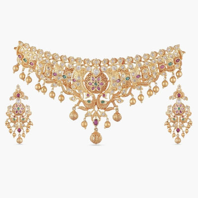 Dhuni Antique Nakshatra CZ Choker Set by Tarinika