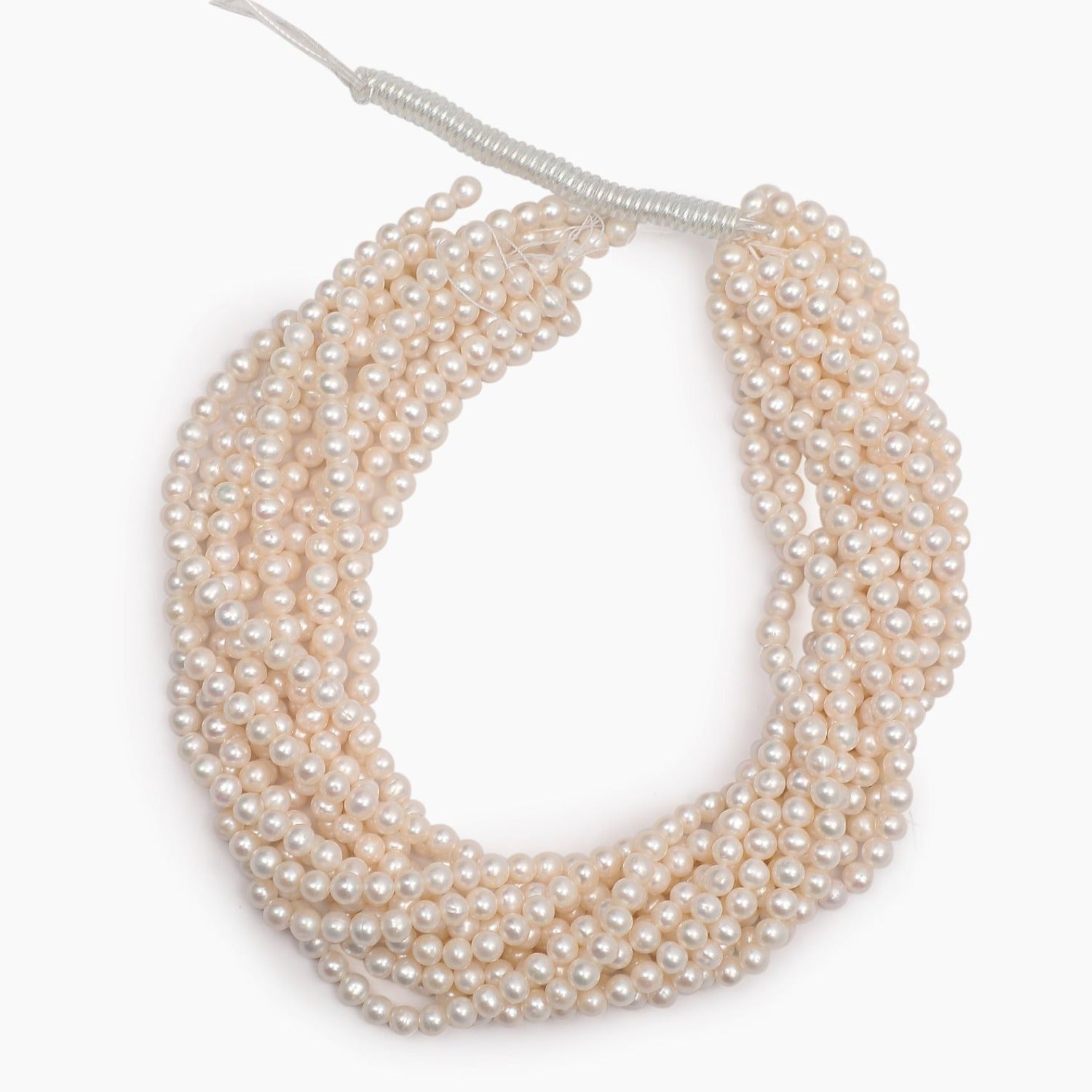 Freshwater White Round Pearls 5mm - Sold Per Strand
