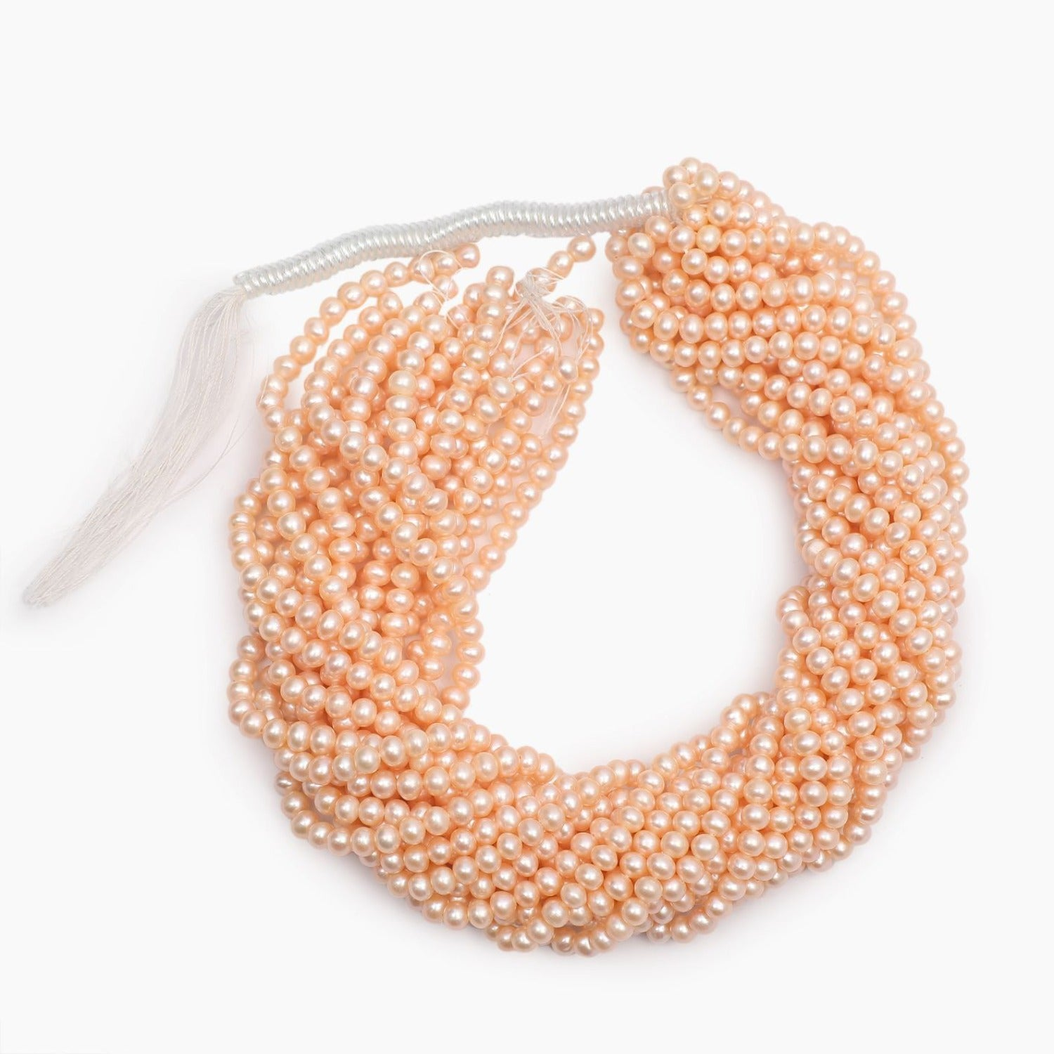Freshwater Peach Round Pearls 6mm- Sold Per Strand