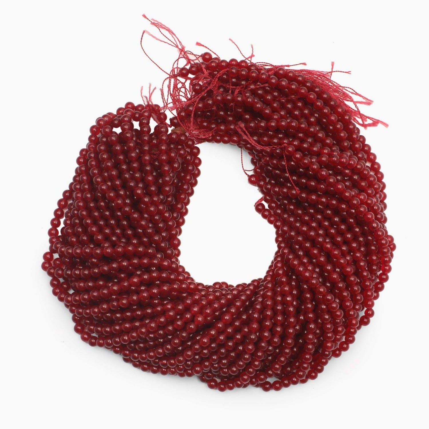 Red Jade Dyed Quartz 5mm Beads- Sold Per Strand
