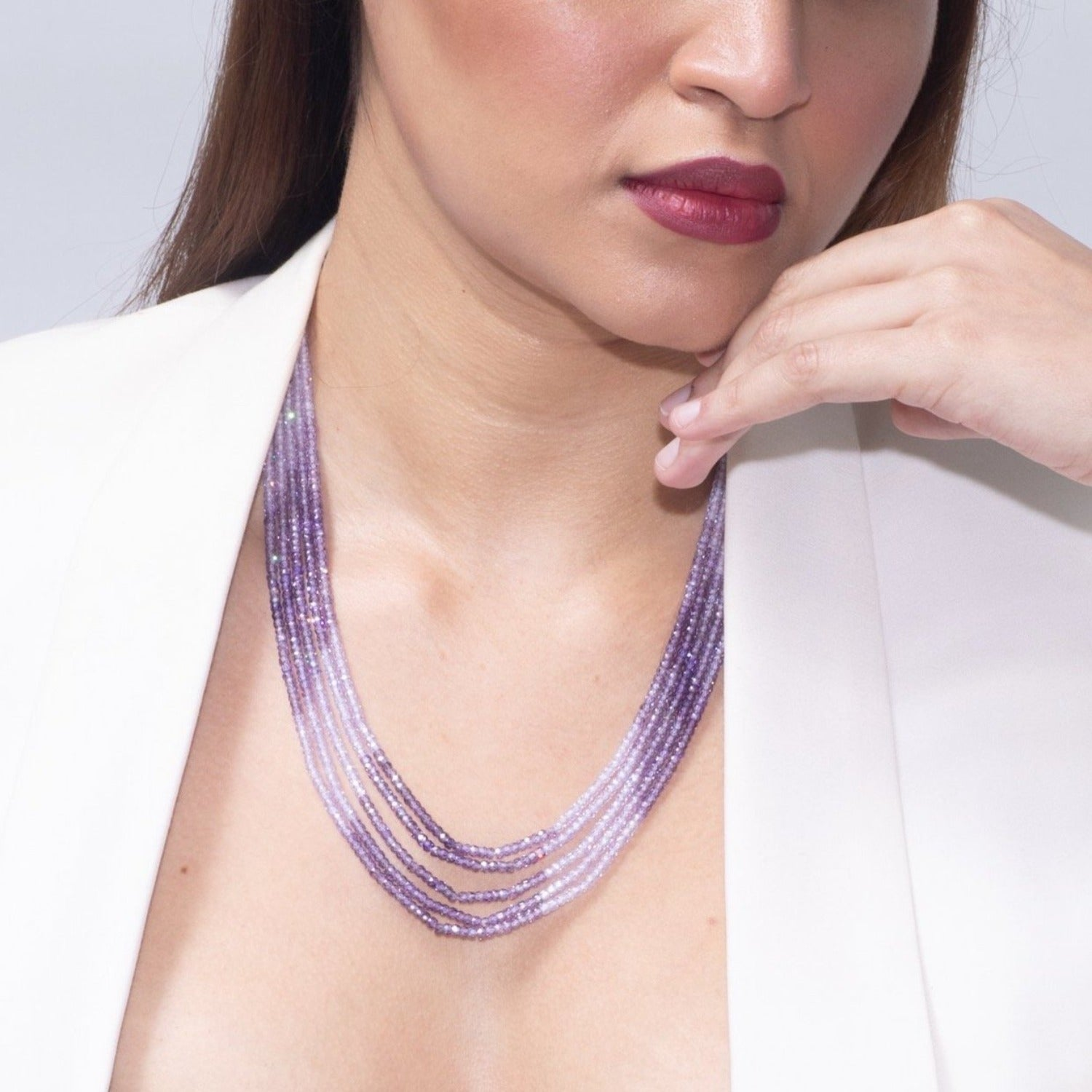 Purple shaded Faceted Cubic Zirconia Beads Necklace