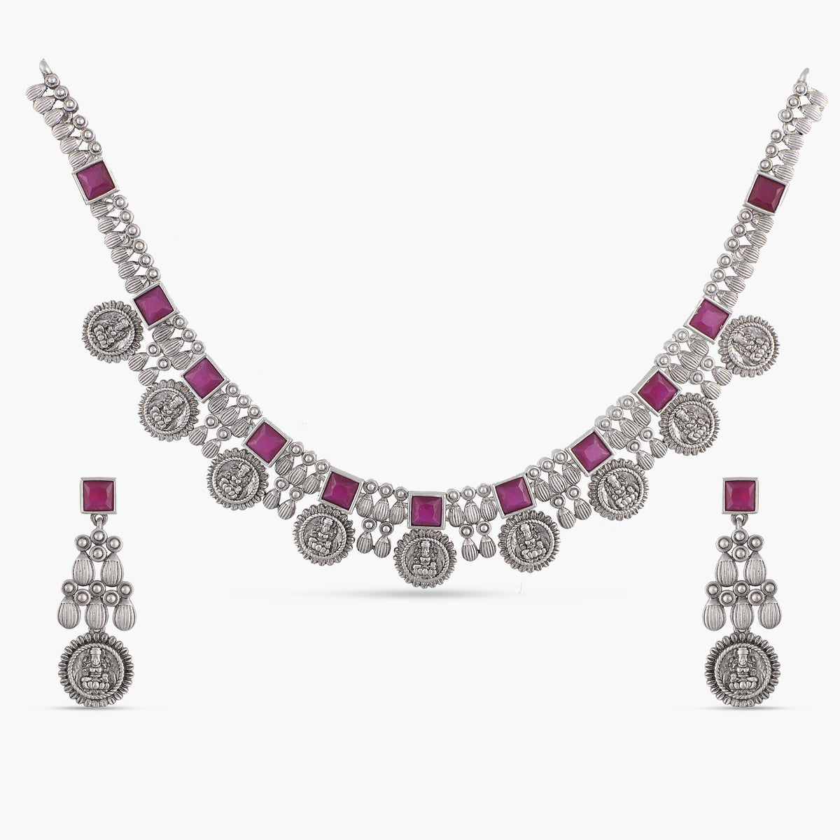 Dwija Antique Silver Necklace Set
