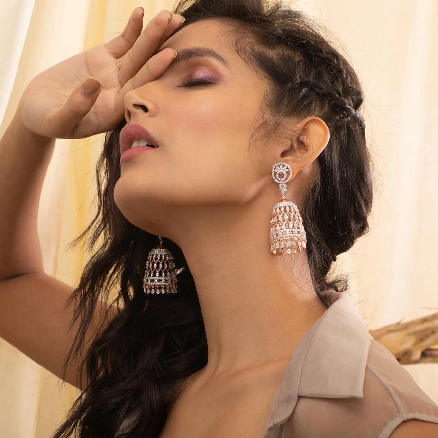 Mila Nakshatra CZ Jhumka Earrings