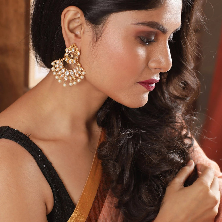 Fara Kundan Earrings by Tarinika