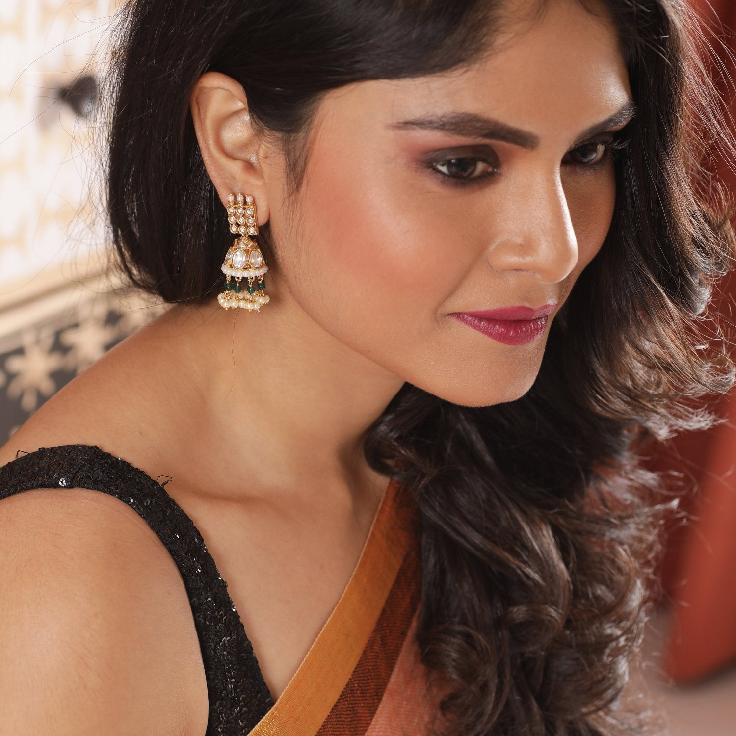 Yana Kundan Jhumka Earrings