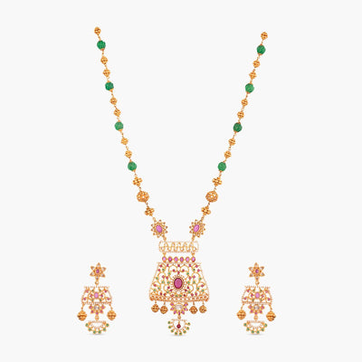 Hayat Nakshatra CZ Long Necklace Set by Tarinika