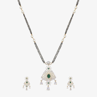 Safa Nakshatra CZ Black Beads Necklace Set