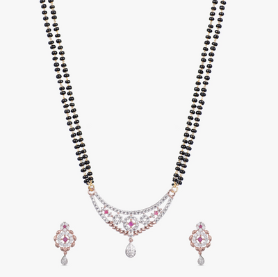 Adia Nakshatra CZ Black Beads Necklace Set