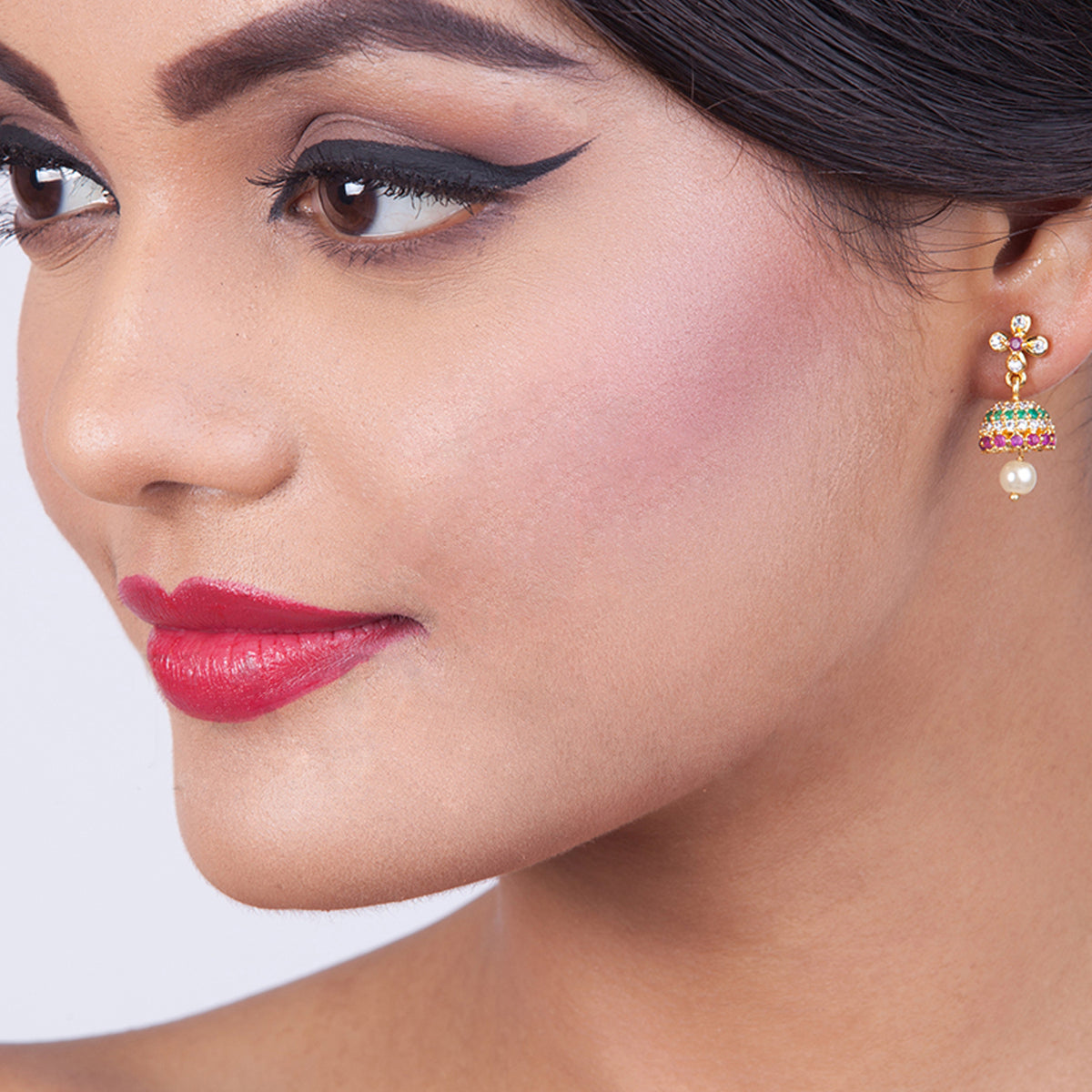 Clover Nakshatra CZ Jhumka Earrings