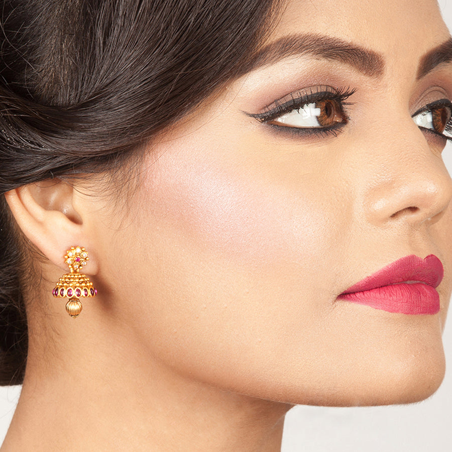 Kusum Nakshatra CZ Jhumka Earrings by Tarinika
