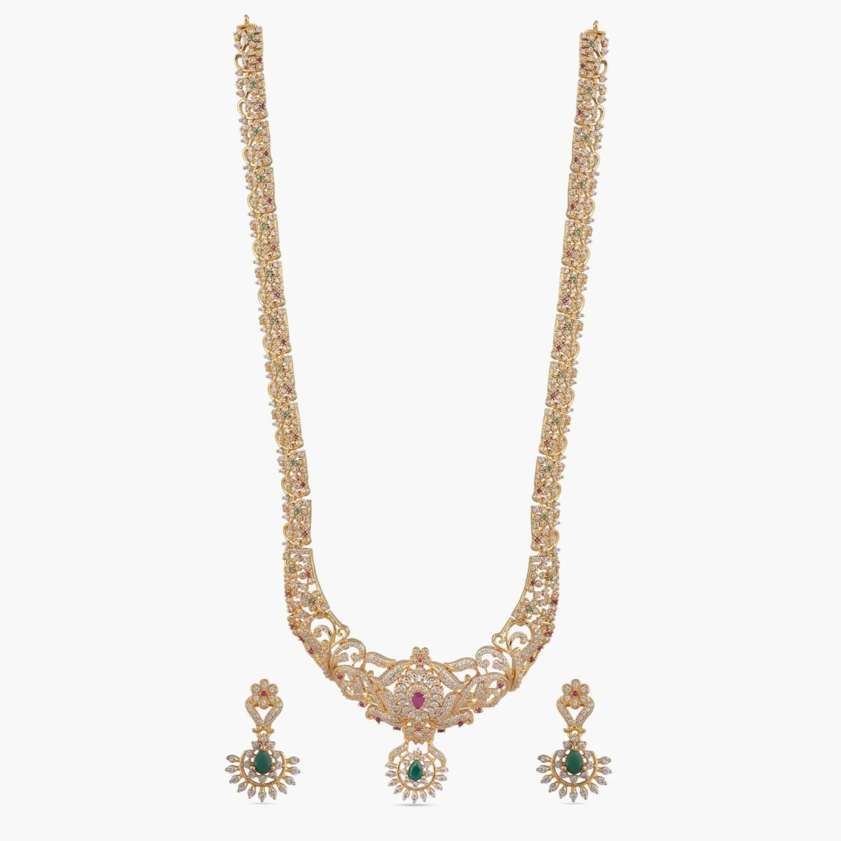 Deval Nakshatra CZ Long Necklace Set