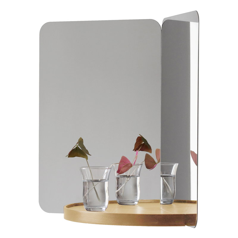 124 degrees mirror, medium, ash shelf