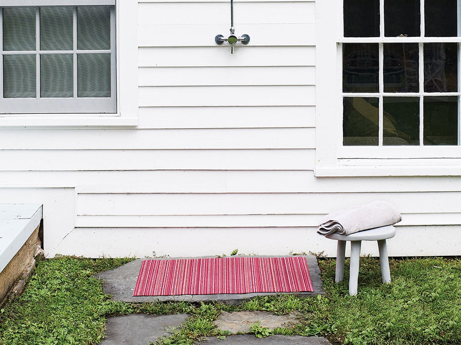 Chilewich Skinny Stripe Shag Mat in Raspberry