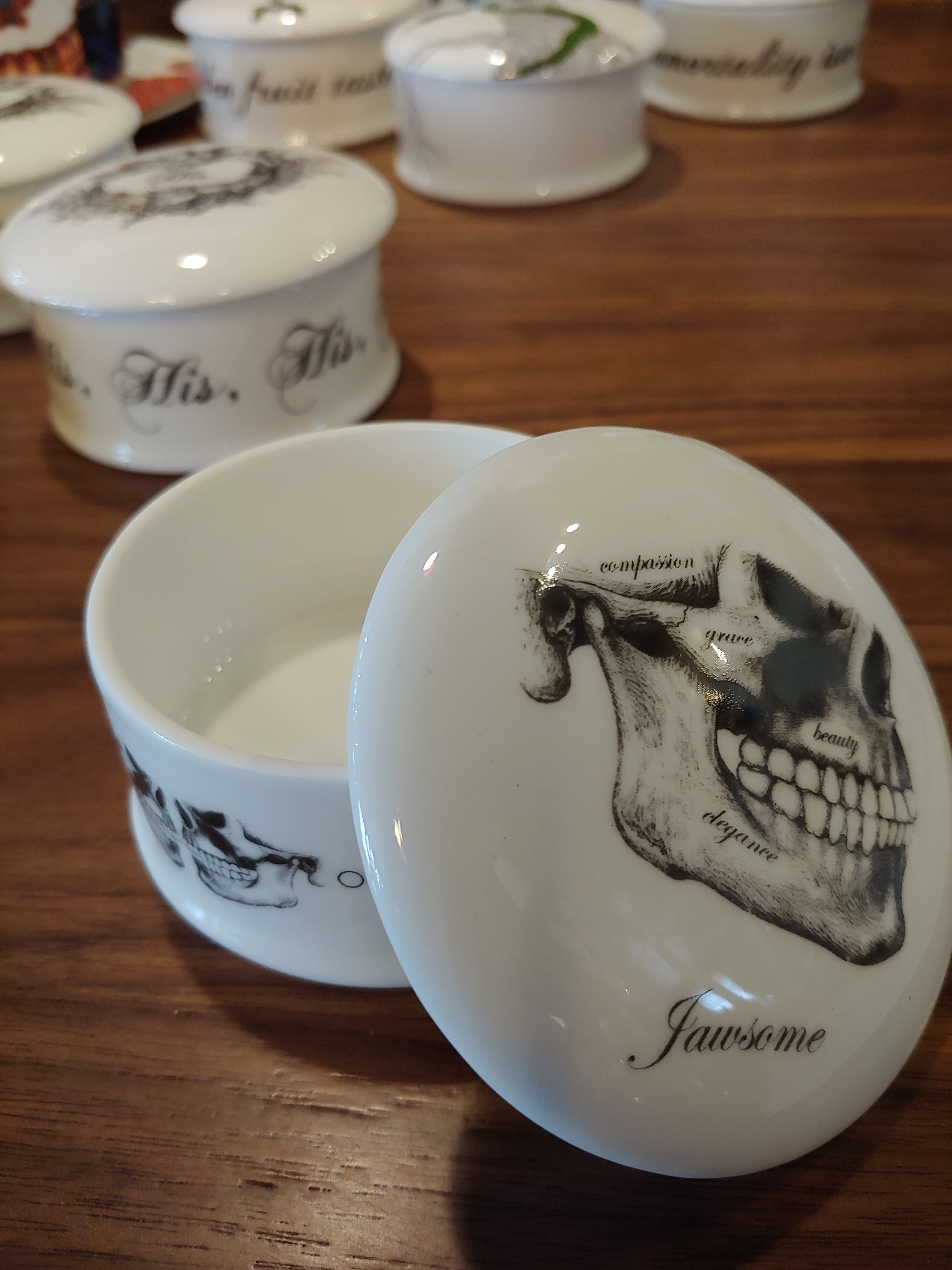 New English Bone China trinket box Jawsome