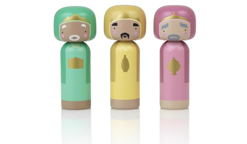 Kokeshi Doll by Sketch.Inc for Lucie Kaas Nativity set 3 wise men set Christmas