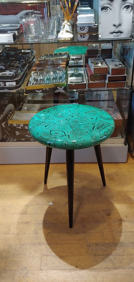 Fornasetti stool /side table Green Malachite