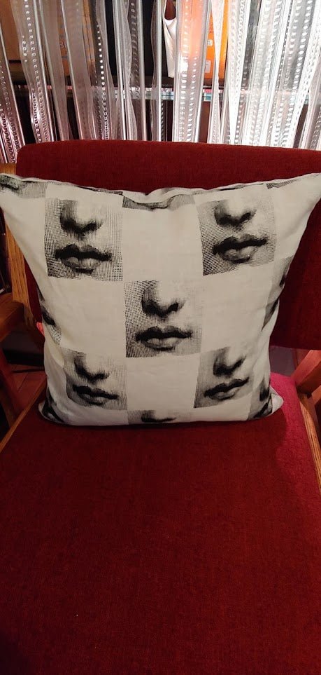 "Fornasetti Pillow 16"" x 16"" Lips nose"