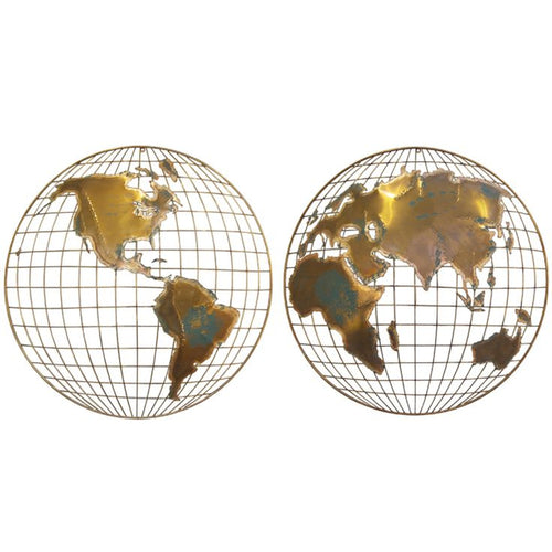 Curtis Jere metal wall art World spheres  (set of 2)