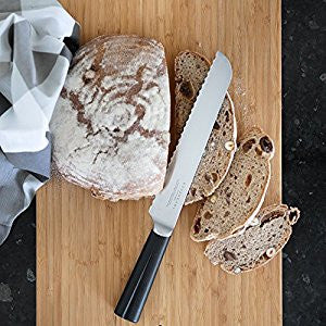 Rosendahl Copenhagen Grand Cru Bread and Kitchen Knife with Scalloped Edge, Plastic, Steel, L 34 cm
