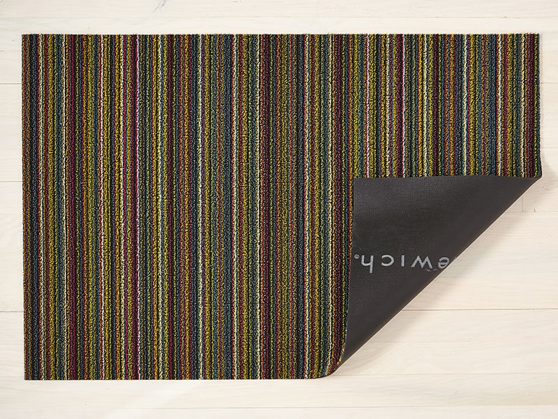 Chilewich Skinny Stripe Shag Mat in Bright Multi