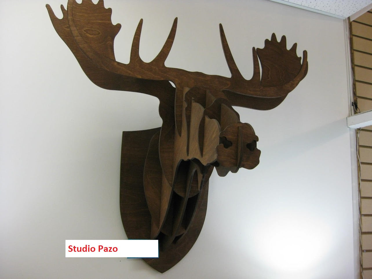 Wooden Moose wall art dark brown
