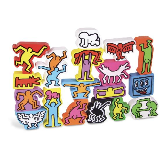 Keith Haring wooden stacking figures