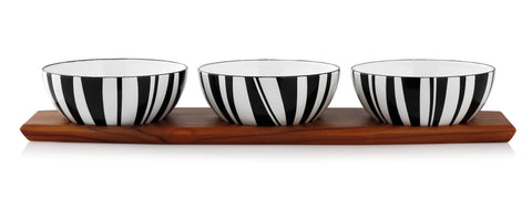 Cathrineholm enamel bowl 20cm stripes black