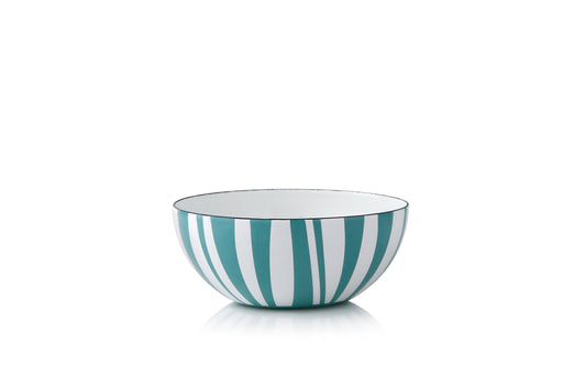 Cathrineholm enamel bowl 14cm stripes moss green
